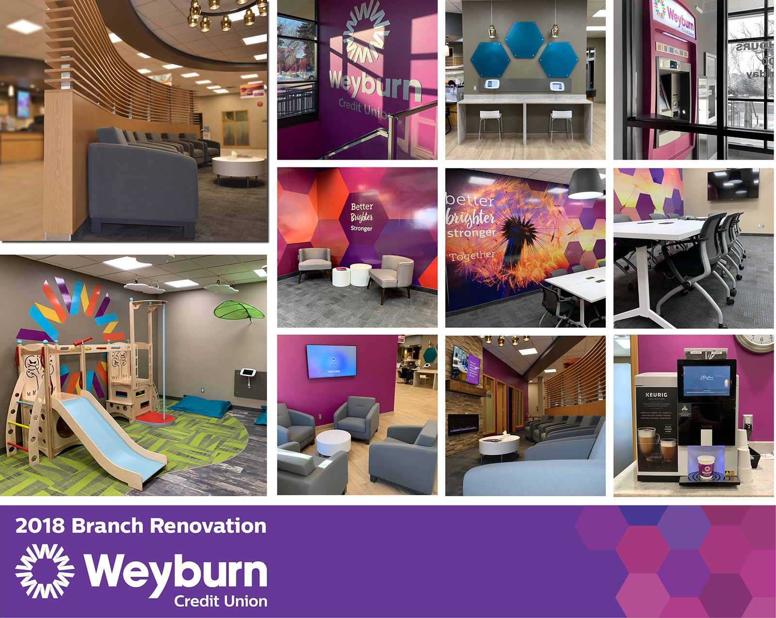 Collage of new Weyburn branch with a play area for children, collaborate and colours workspaces, ATM, lobby seating area.
