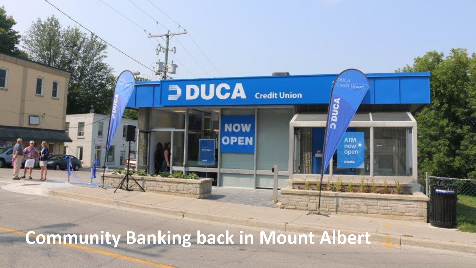 Outside shot of front of new Mount Albert DUCA branch.