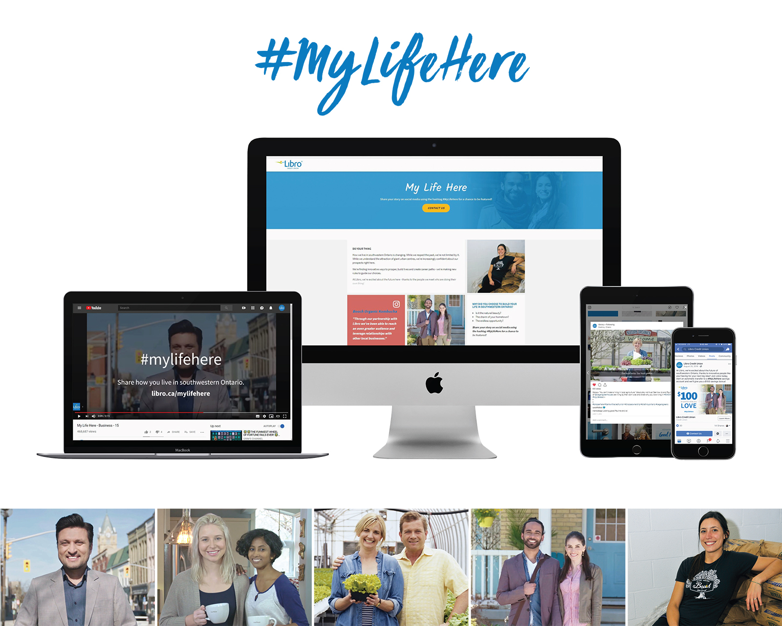 "Computer screen, laptop, mobile phone and tablet with the brand campaign ""#mylifehere"" headline."