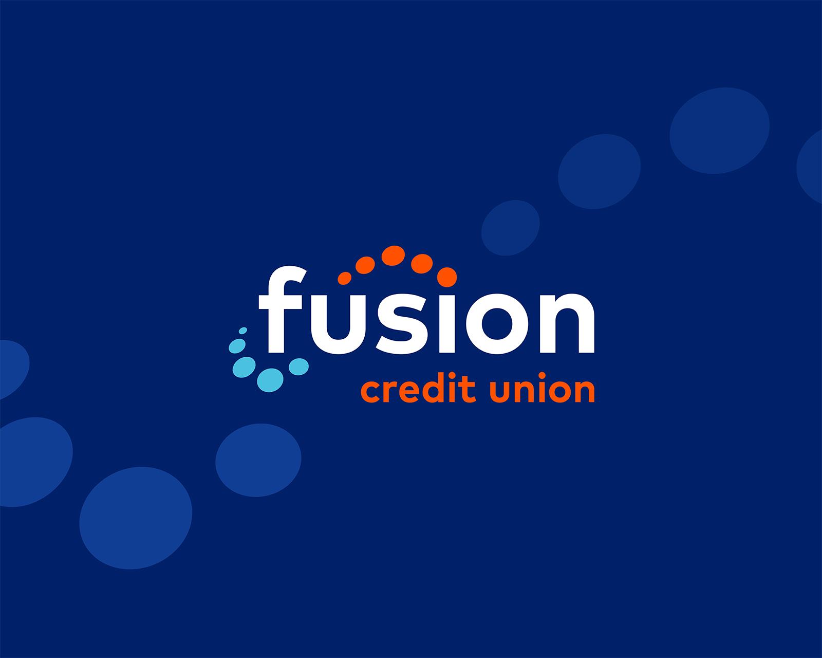 Fusion credit union logo with dark blue background. Small circles run diagonally across the photo.