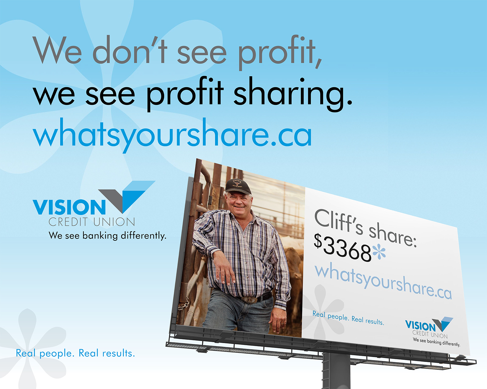 Billboard of an older man, wearing plaid and a ballcap showing how much he has received in profit sharing from Vision Credit Union.