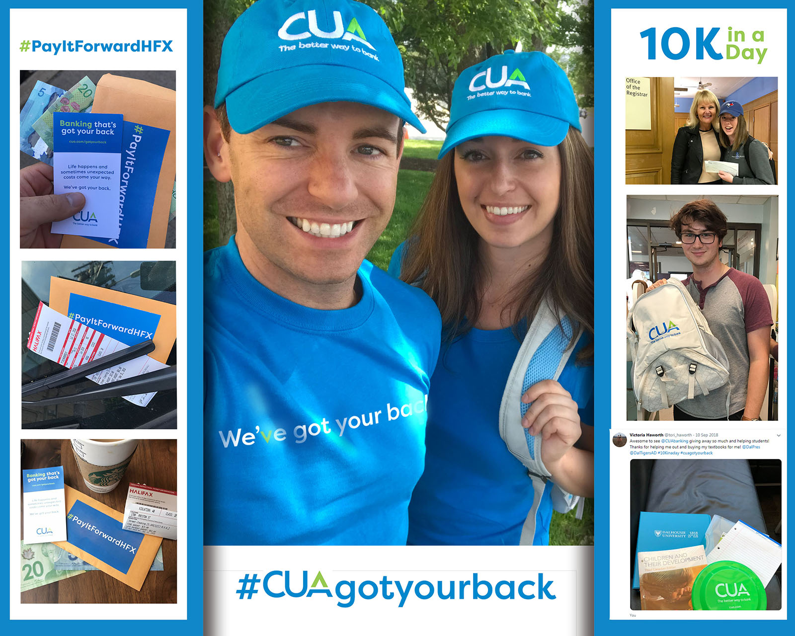 Collage of members of the CUA community giving back.
