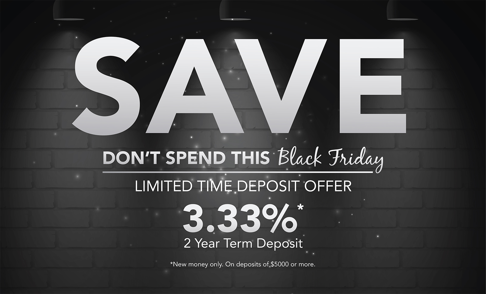 "Black and white brick wall with headline ""Save, don't spend this black Friday"""