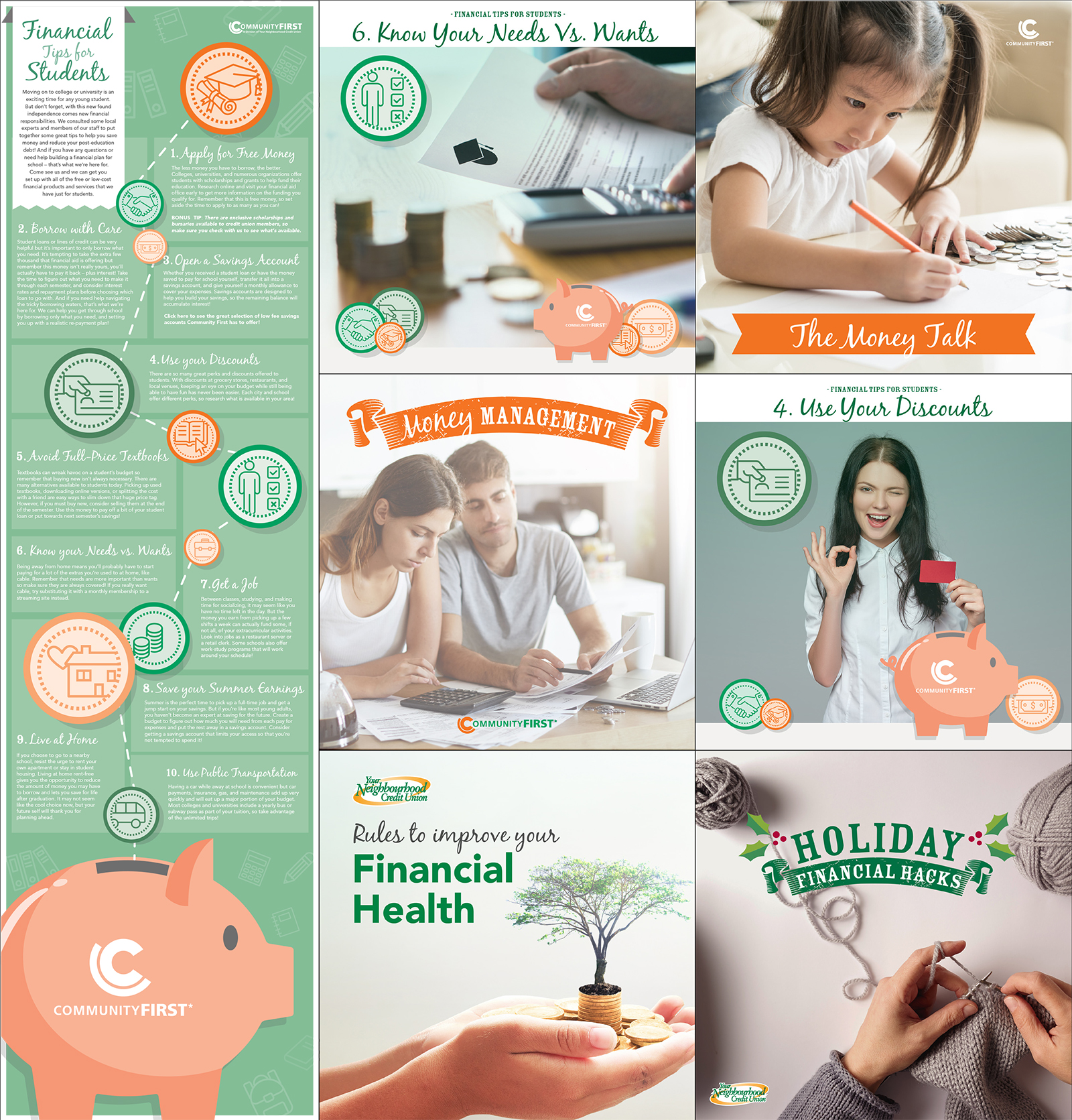 Collage of images showing a calculator and some papers, a little girl with coins in front of her holding a pencil, a young couple going over their budget, a young woman making the ok sign with her hand with a piggy bank, a small tree growing from a pile of coins in someones hands, a pair of hands knitting from two balls of yarn.