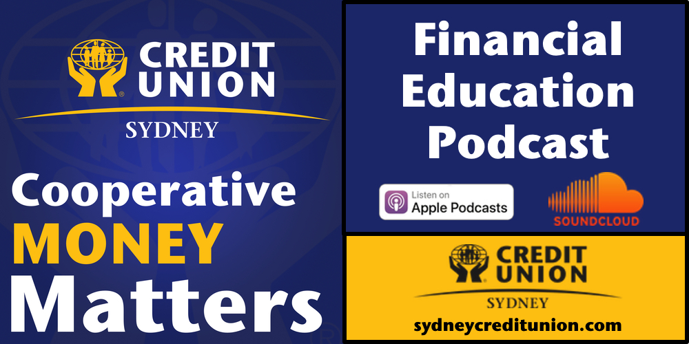 Sydney Credit Union hands and globe logo with their slogan Cooperative Money Matters.