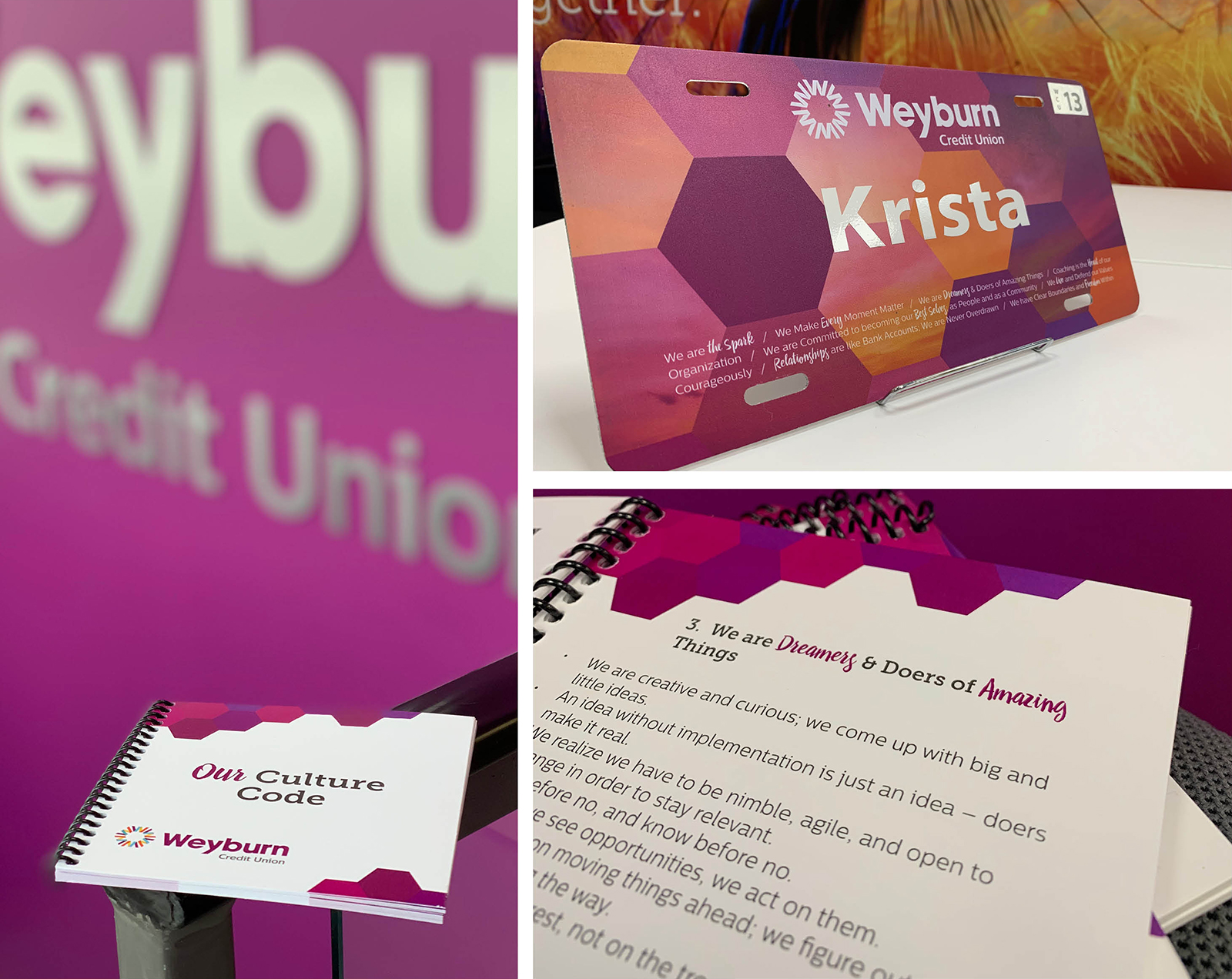 Marketing collateral of a name plate and workbook in bright fusia.