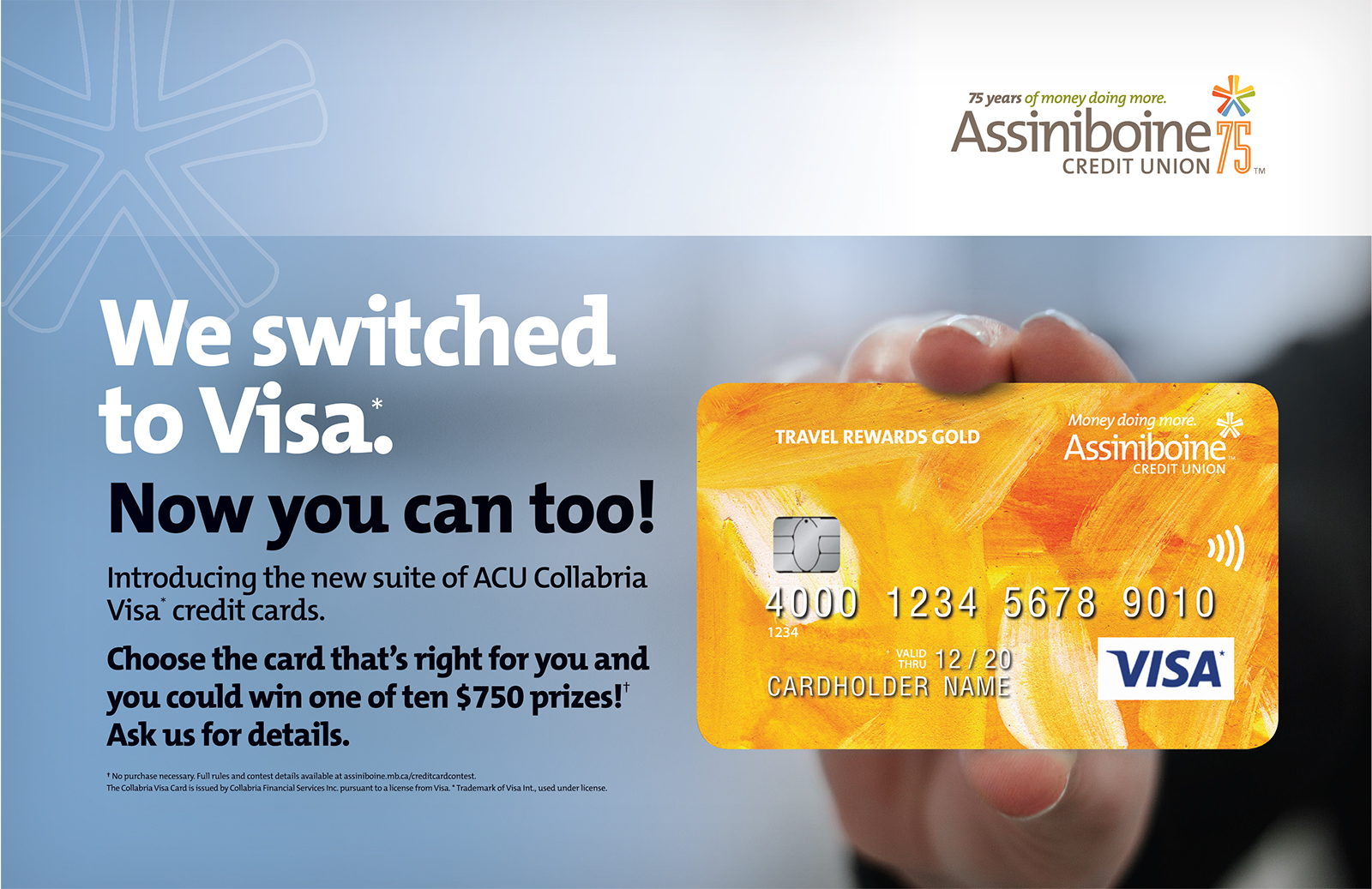 Someone's hand holding a bright yellow VISA card.