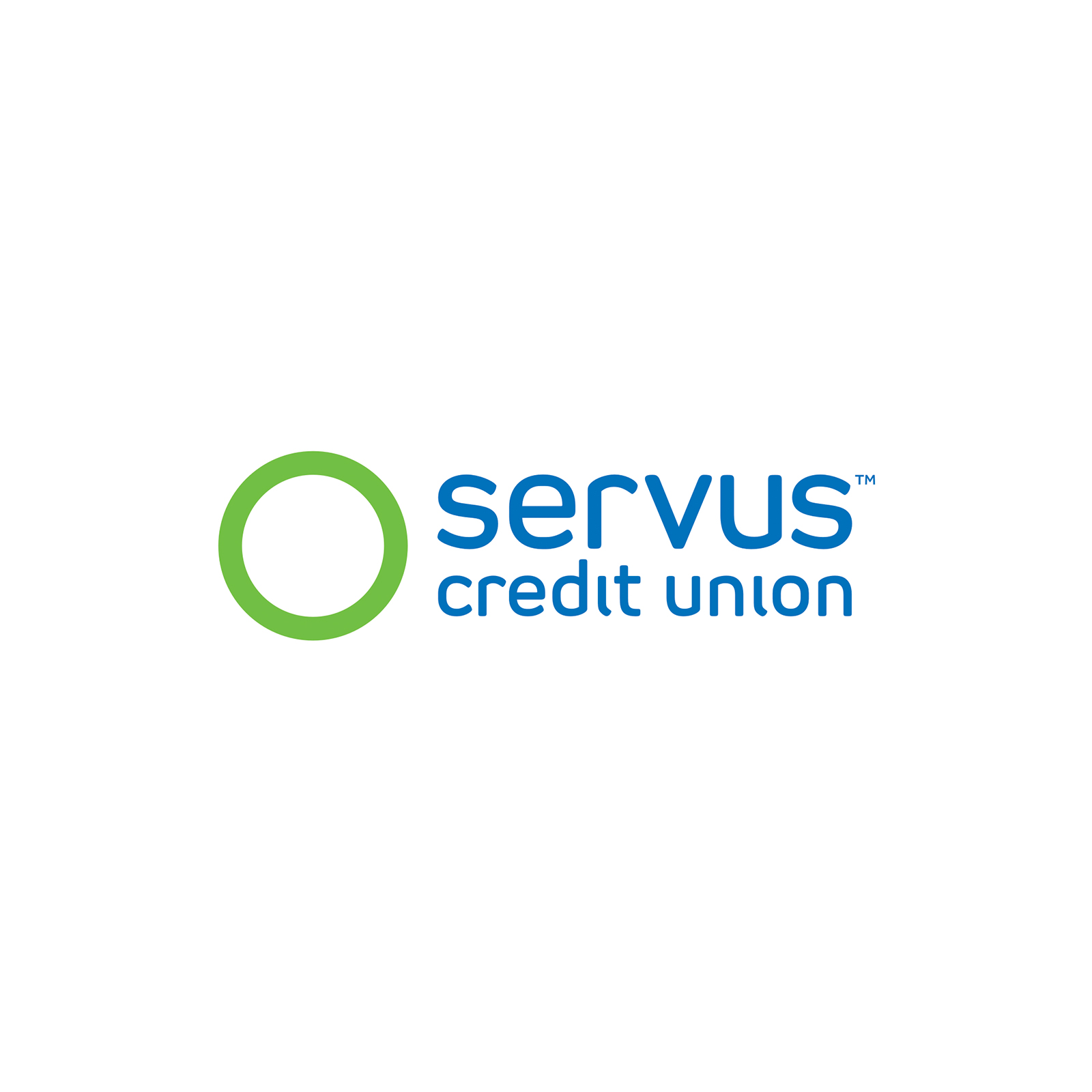 Servus Credit Union logo - written in blue with a green circle beside the text.