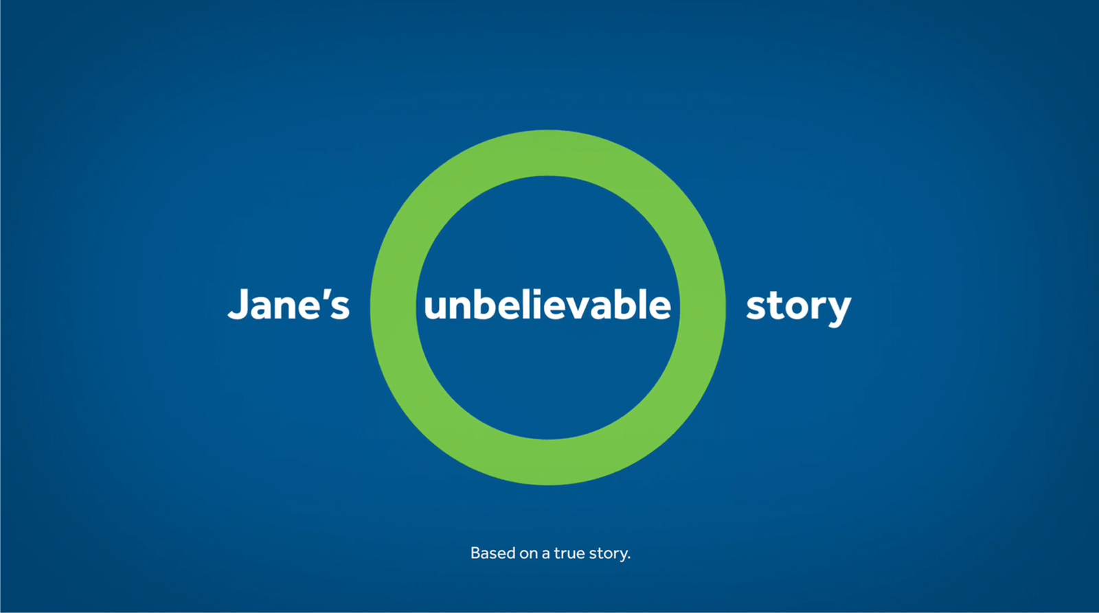 "Bright green thick ring with ""Jane's unbelievable story"" written on a blue background."