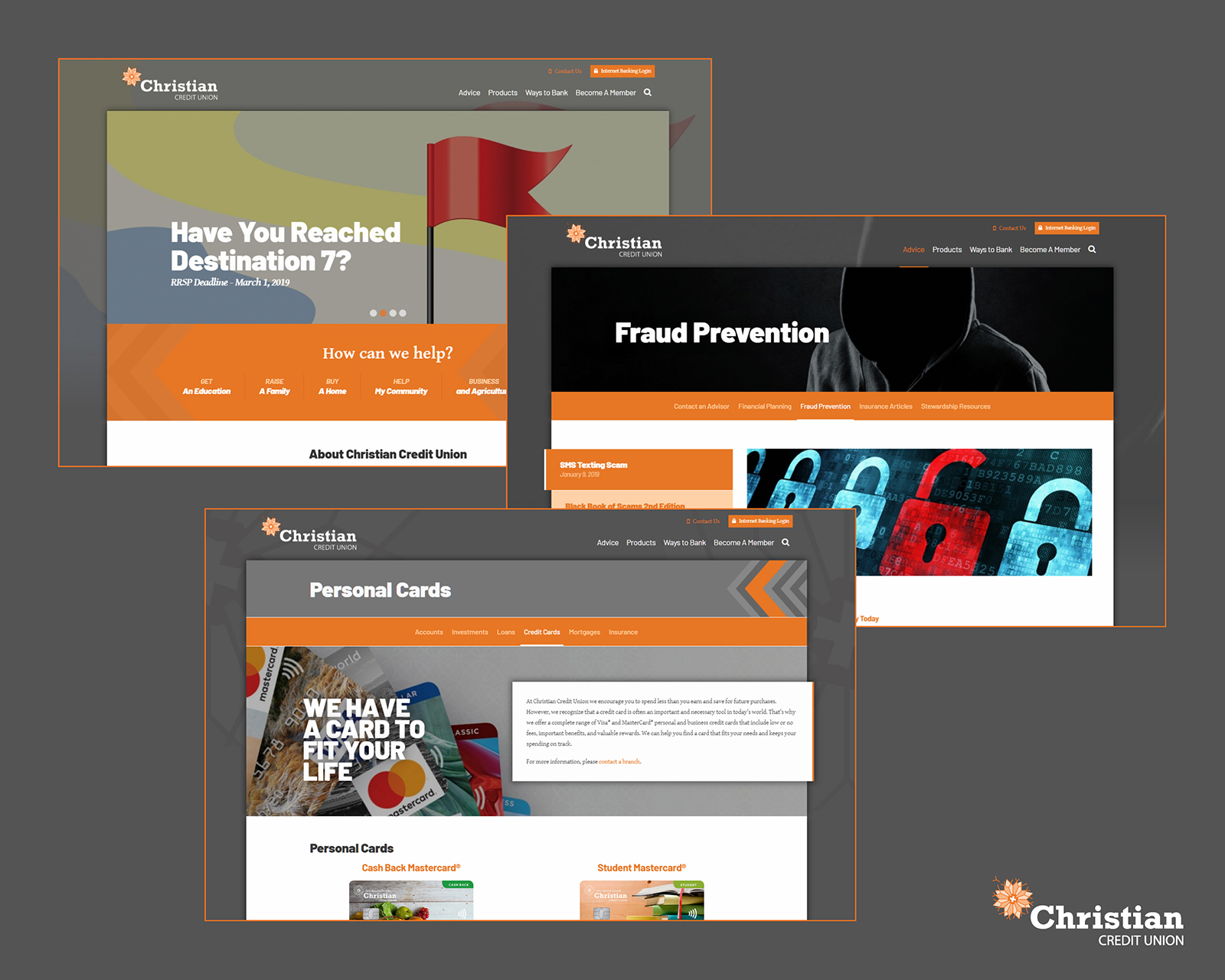 Website pages from Christian Credit Union.