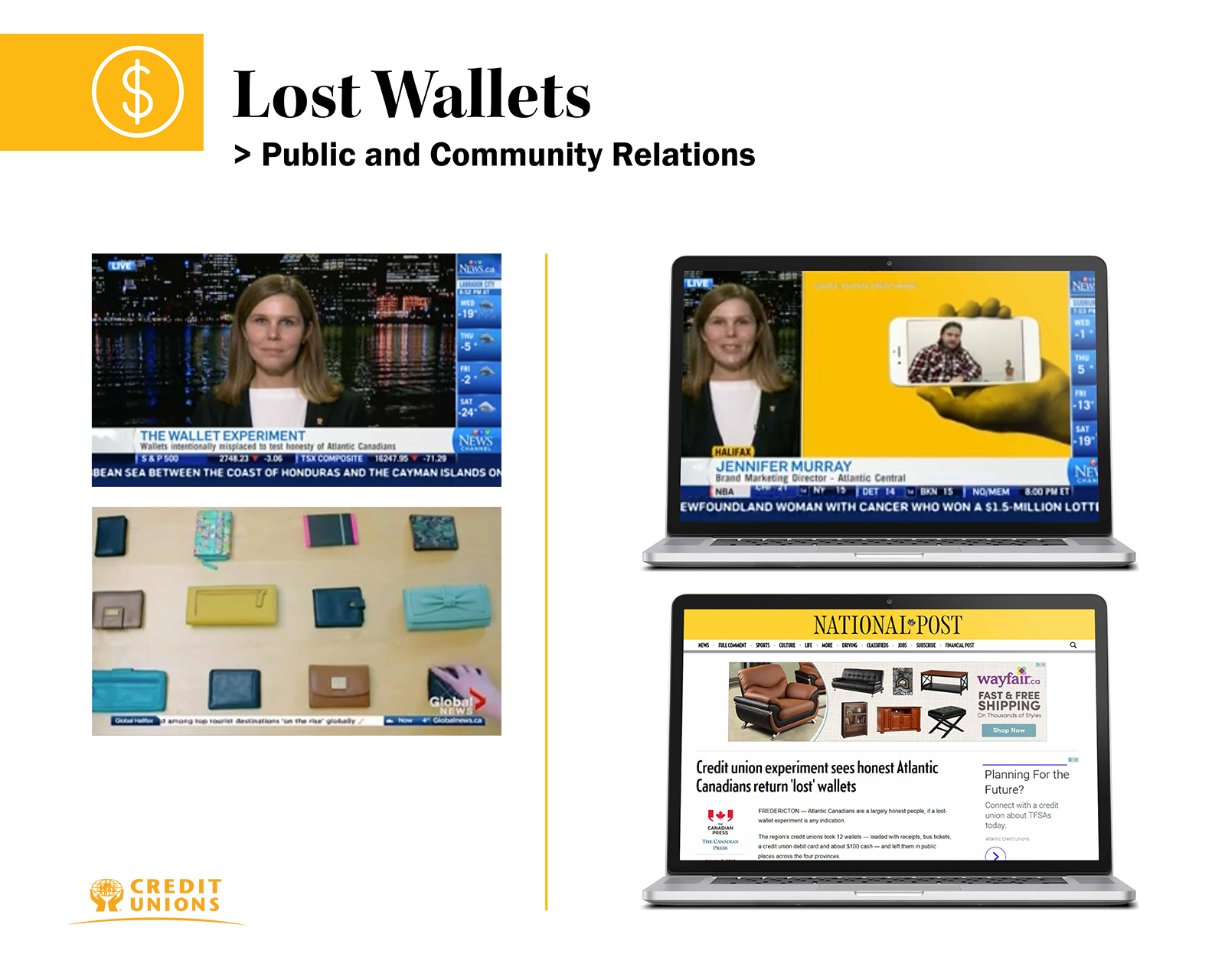 Lost wallet news coverage with news anchor still, computer and mobile phone set news articles.