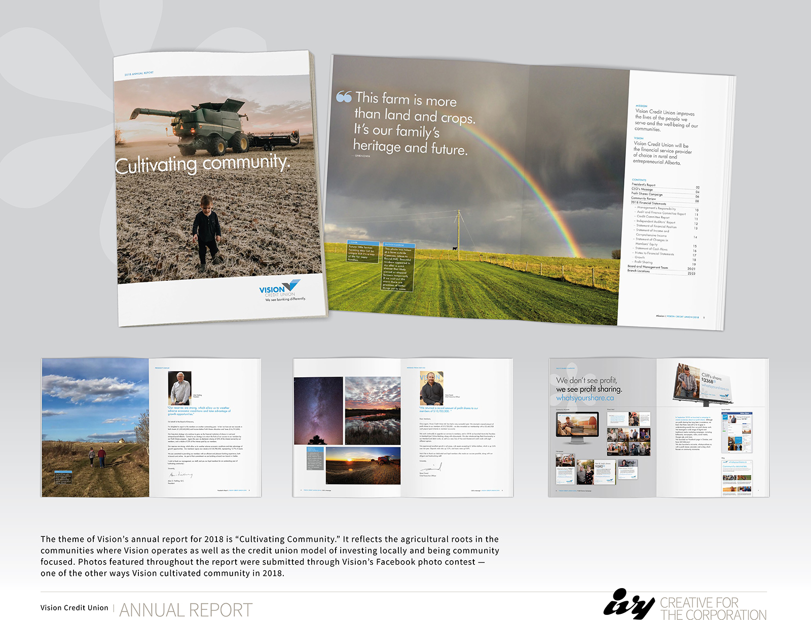 Front cover of annual report with child in a field and a tractor tilling the field behind him