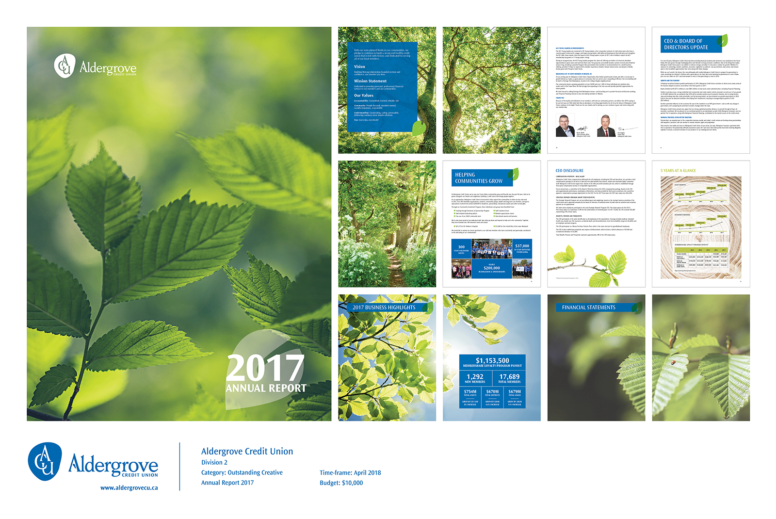 Front cover of annual report with a branch of a tree with vibrant green leaves.