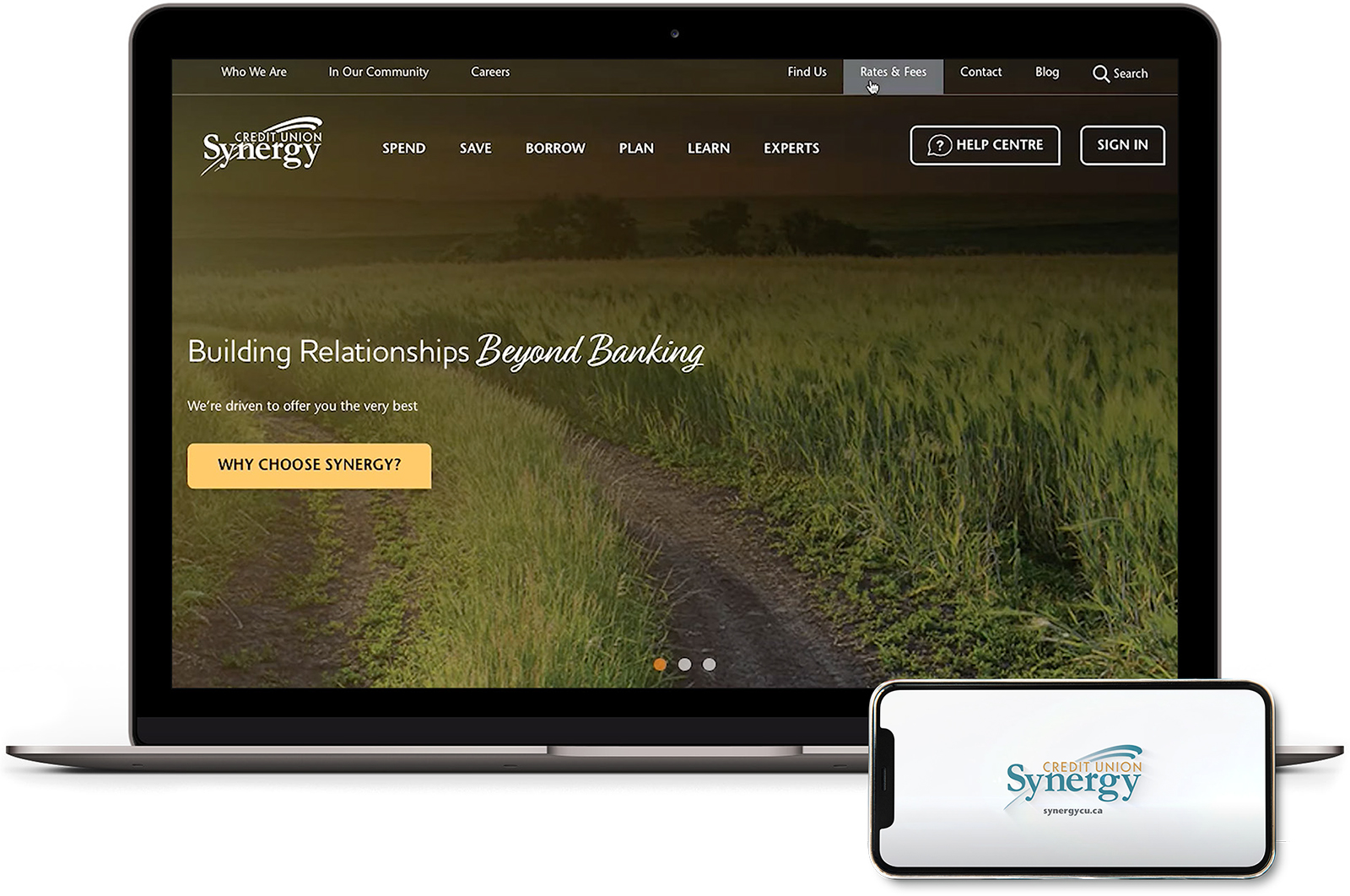 Laptop showing Synergy Credit Union's new website.