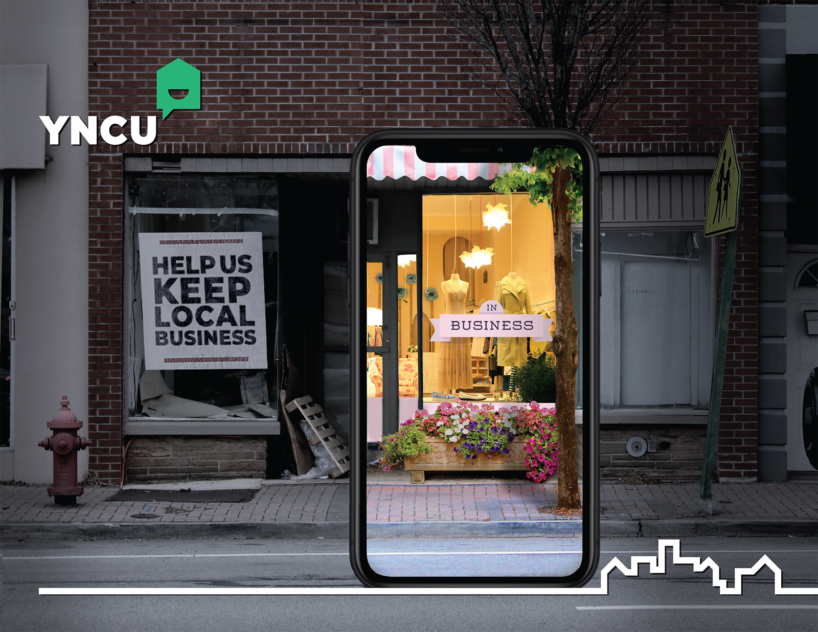 An abandoned shop with a phone showing it can be thriving.