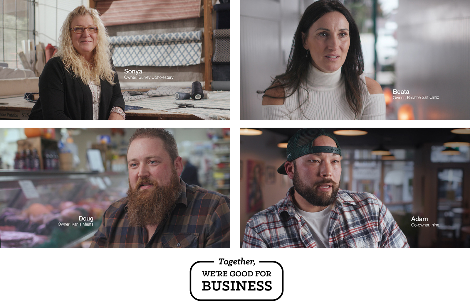 Four different panels featuring different small business owners.