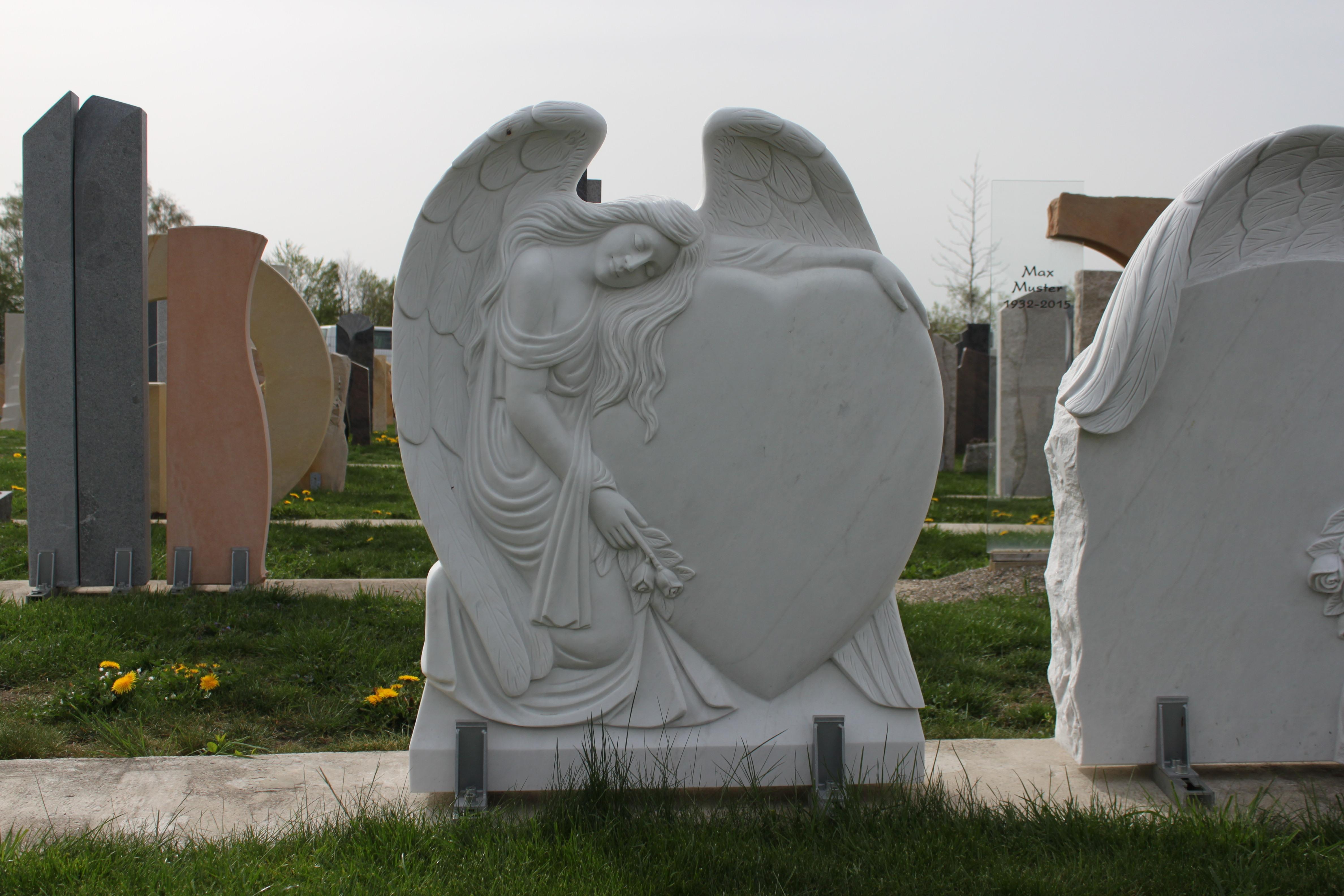 moderner grabstein kalkstein modern engel doppelgrabstein