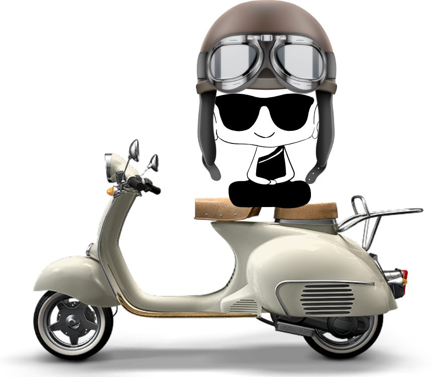 The Undercover Monk on its vespa!