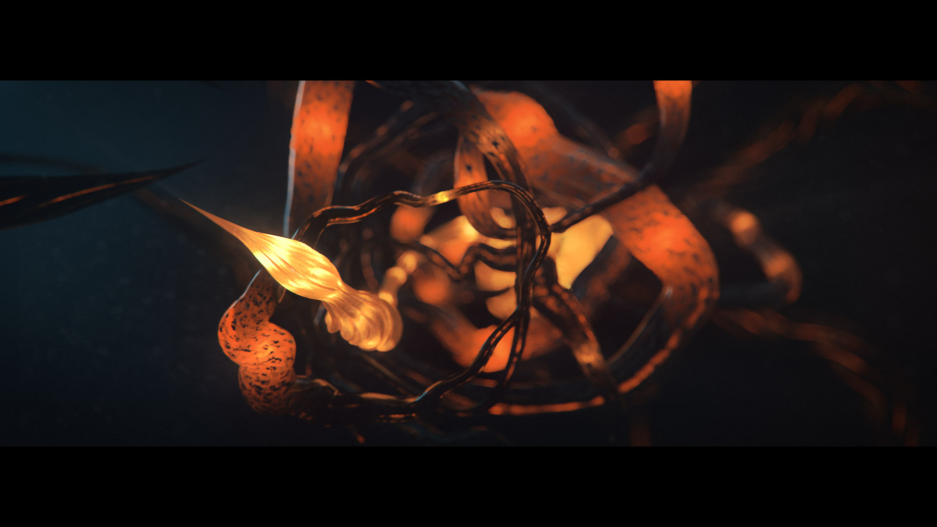 Organic glowing CGI scene with tentacles and glass worms