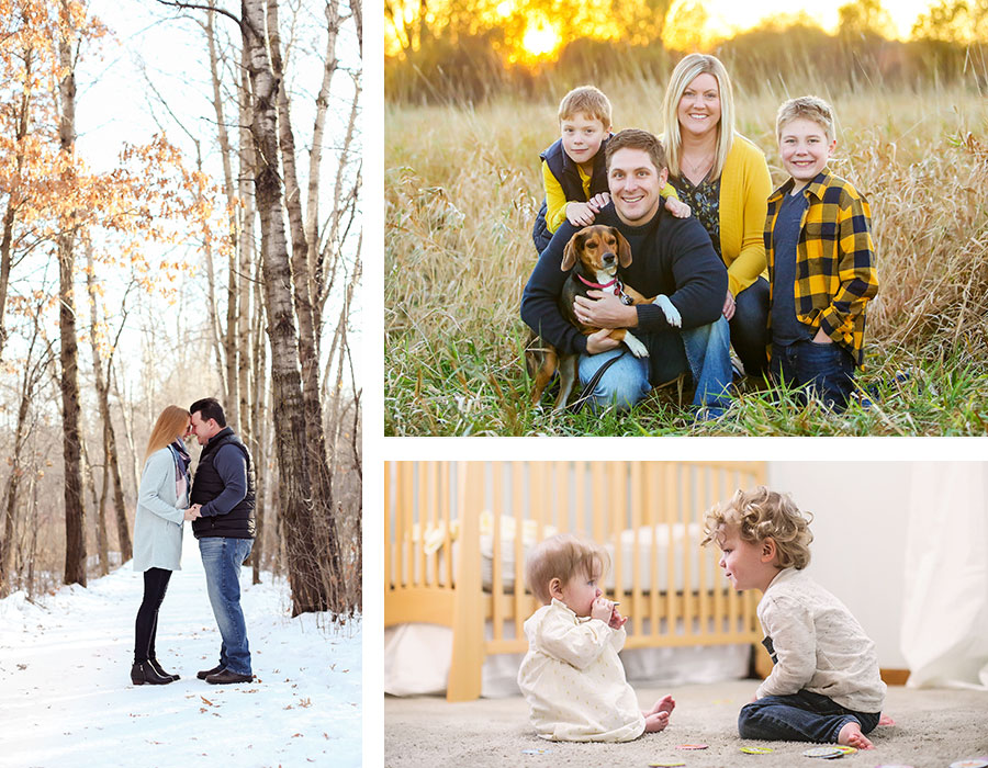 Collage of family and couples photos captured by Minnesota based photographers Laura Leigh Images