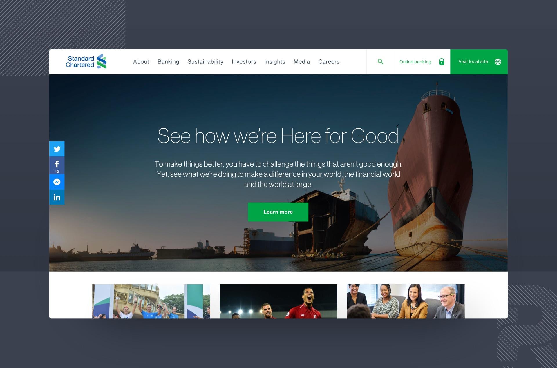 Standard Chartered global website showcase image