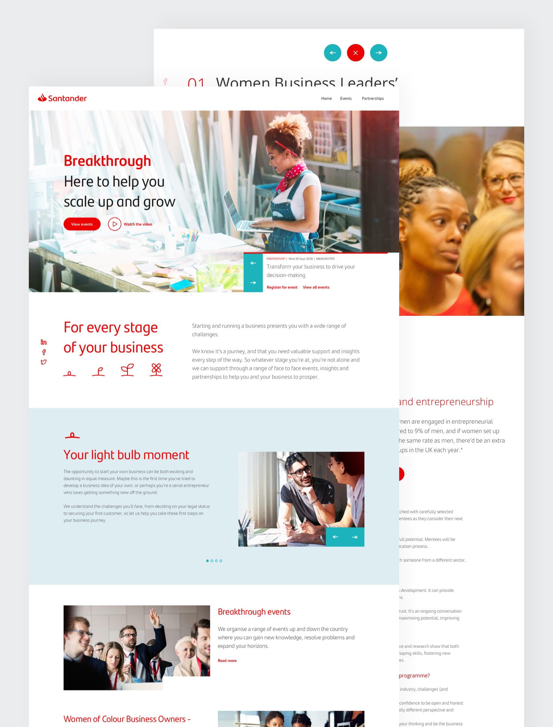 Santander Breakthrough website pages