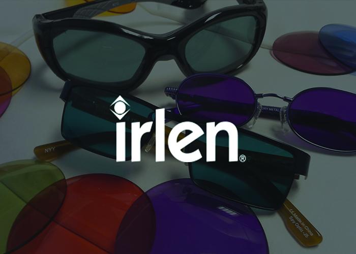 Irlen coloured lens glasses with the irlen logo