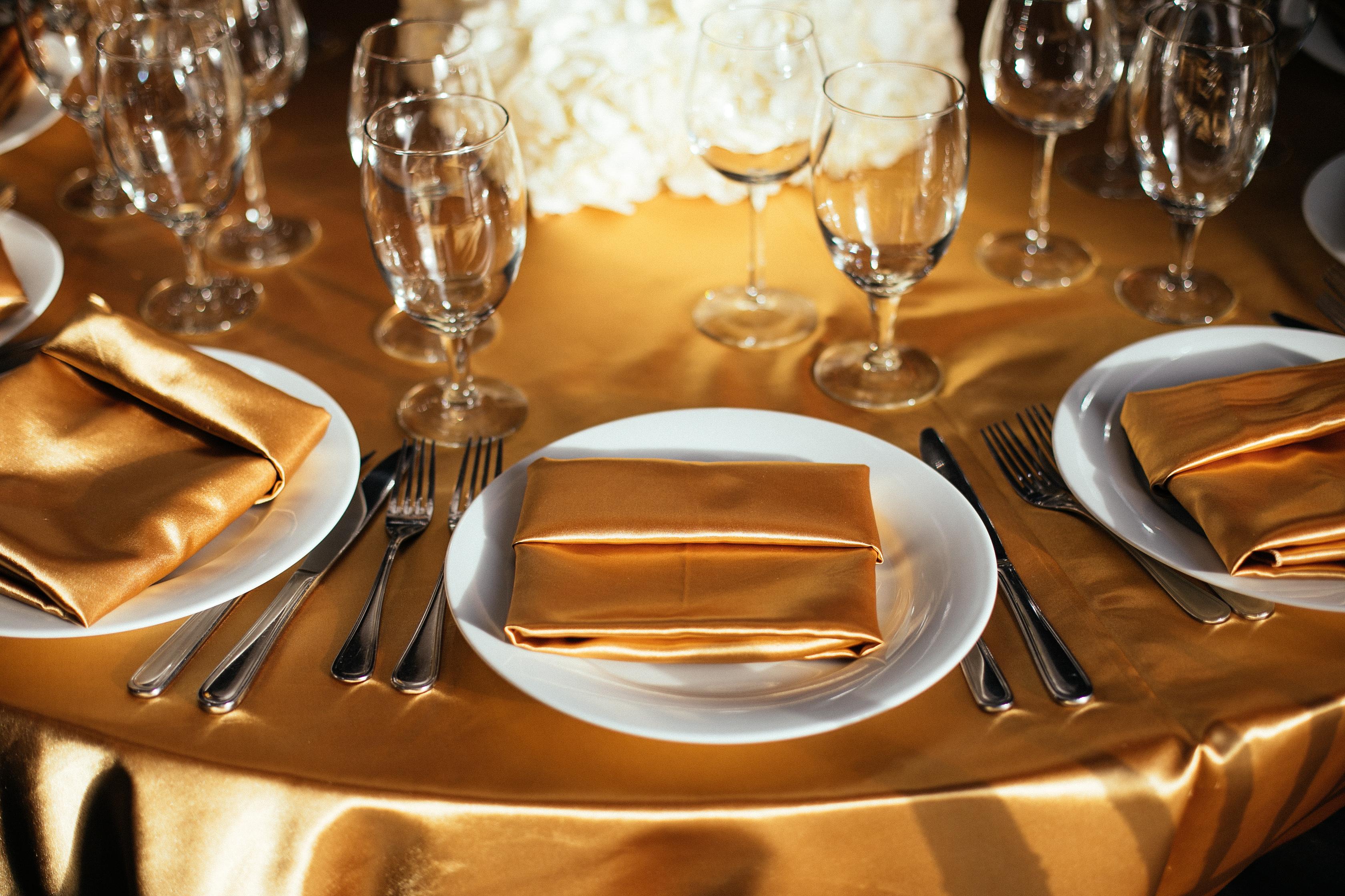 Golden table setting