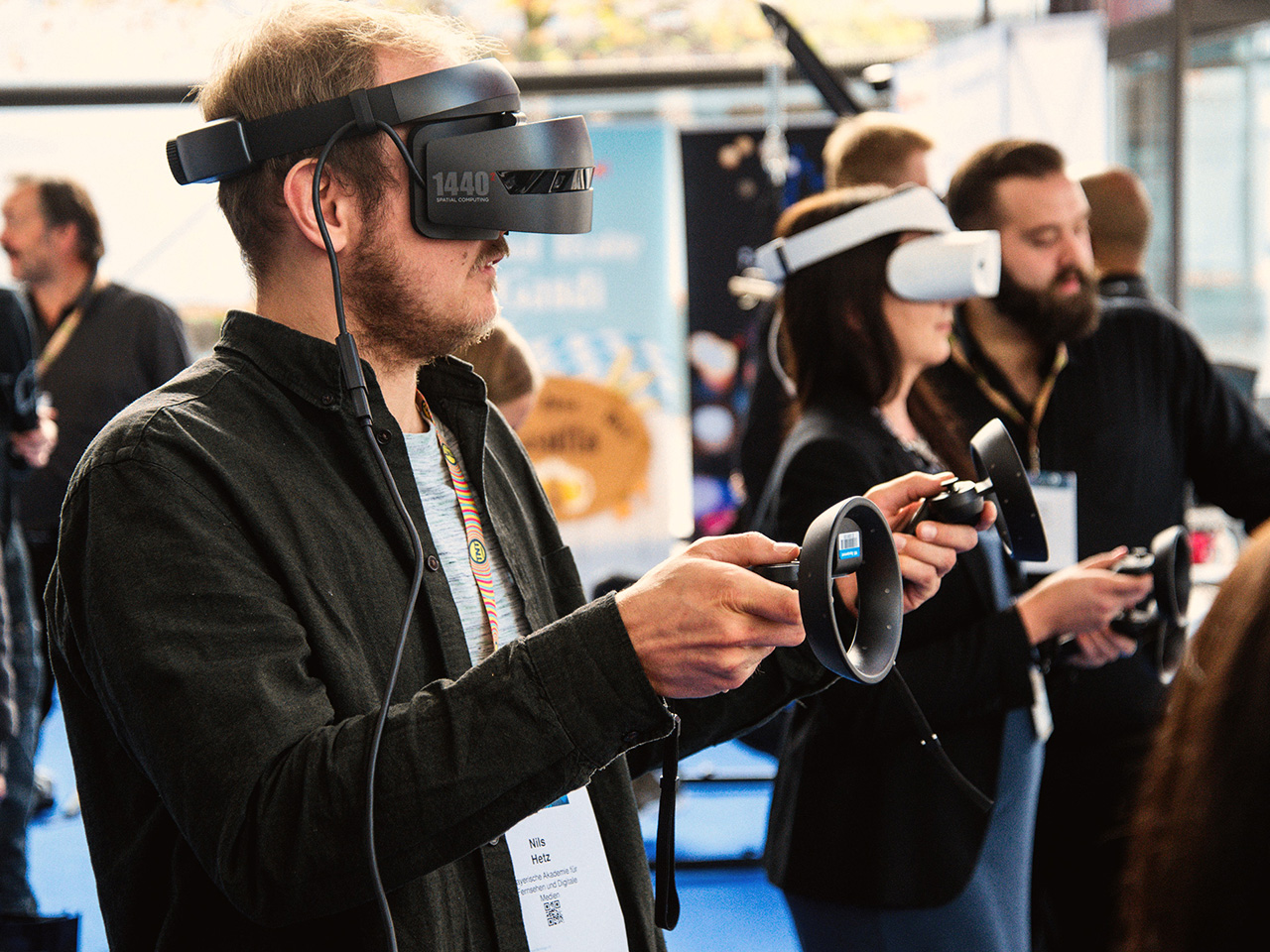 A man is using a Virtual Reality kit