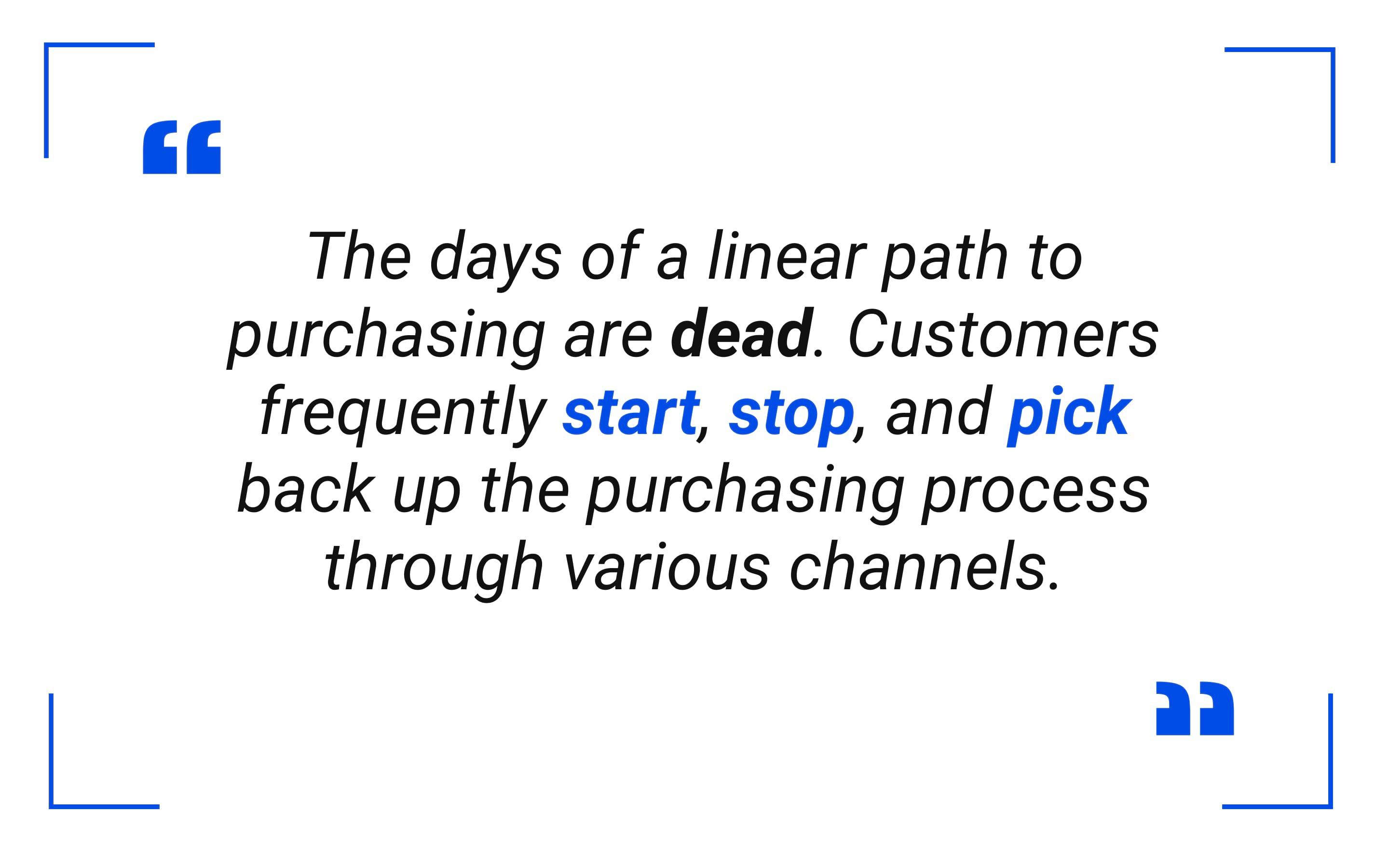 The days of a linear path to purchasing are dead.