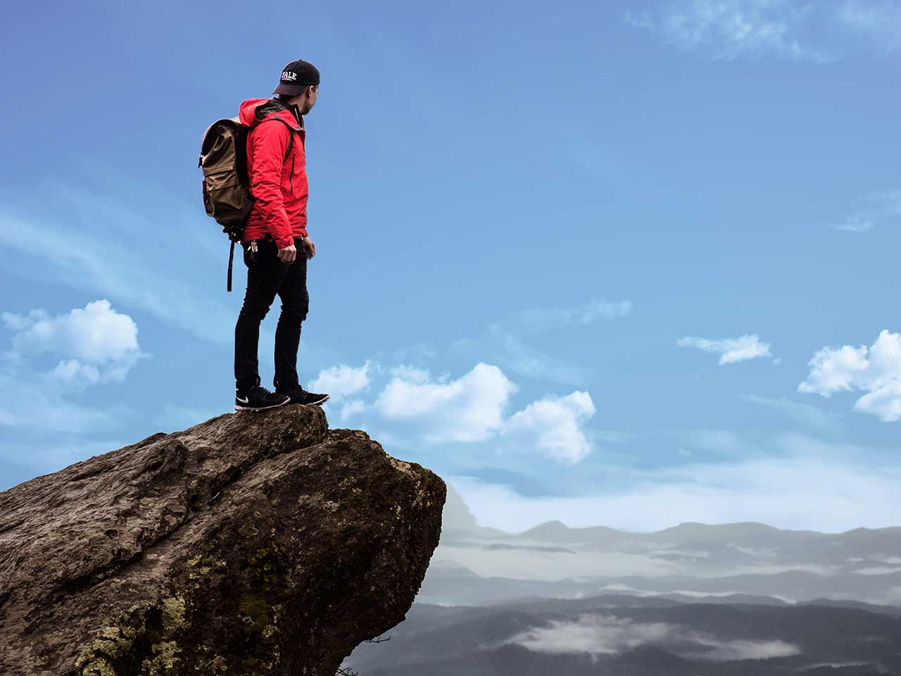 man in the cliff