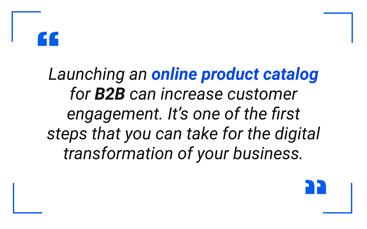 Launching an online product catalog for B2B can increase customer engagement.