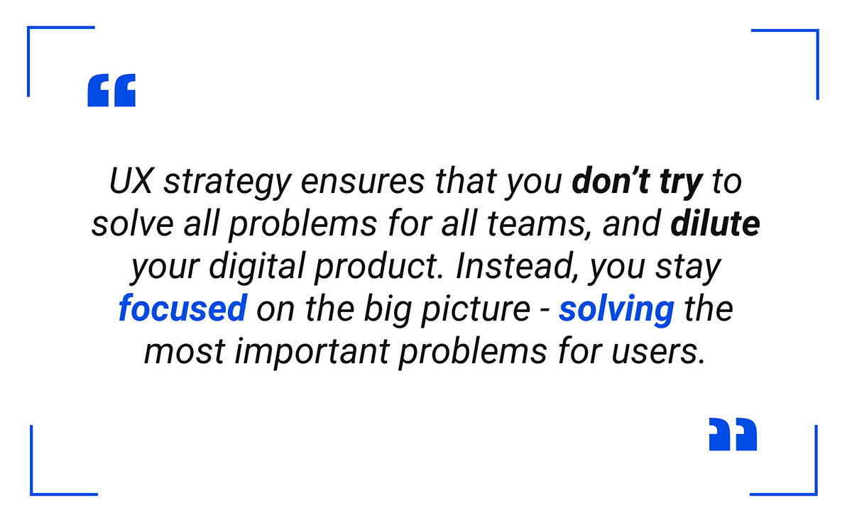 A UX Strategy helps solve problems for users - pull quote