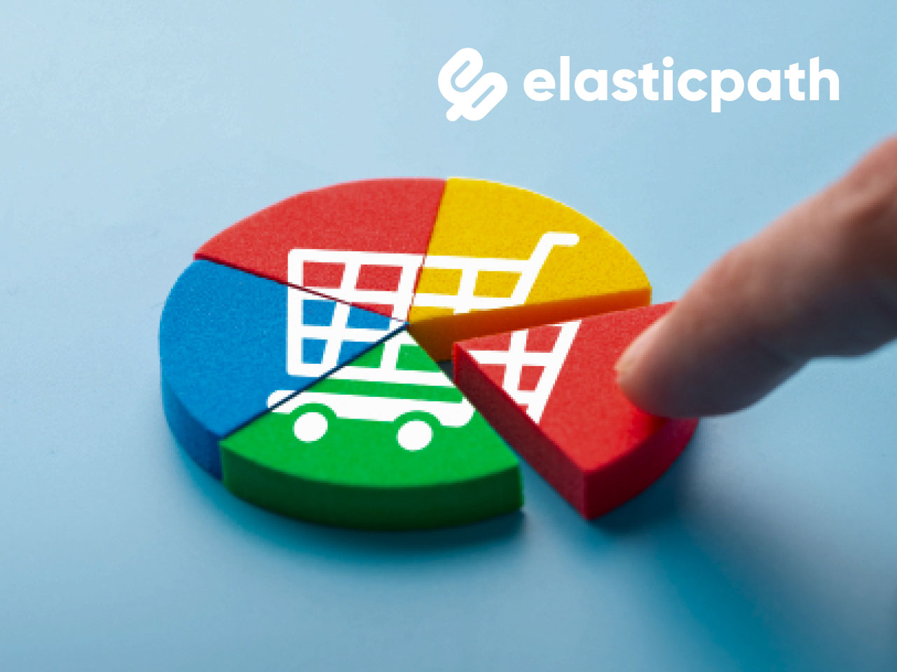 pointing finger in an ecommerce pie with elastic path logo
