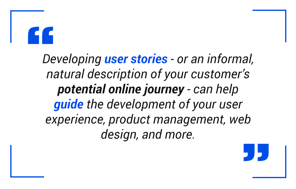 pull quote: Developing user stories