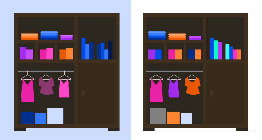 graphic illustration of 2 closets