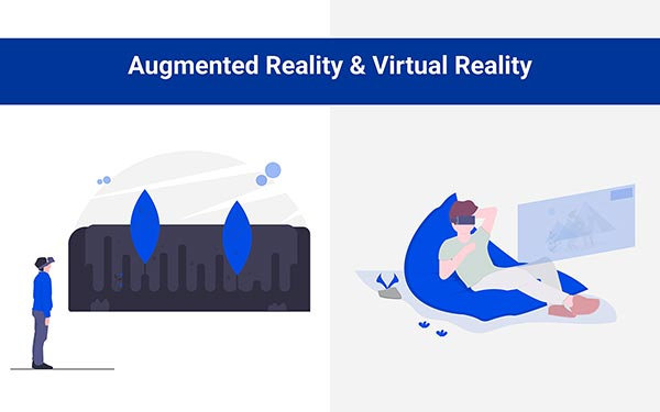Illustration of man using Augmented reality & Virtual Reality for eCommerce