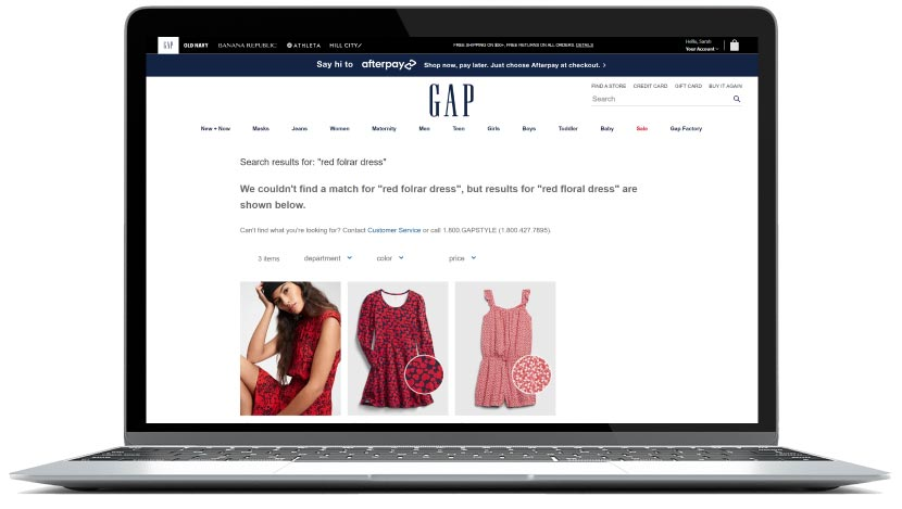 screenshot of GAP search results page