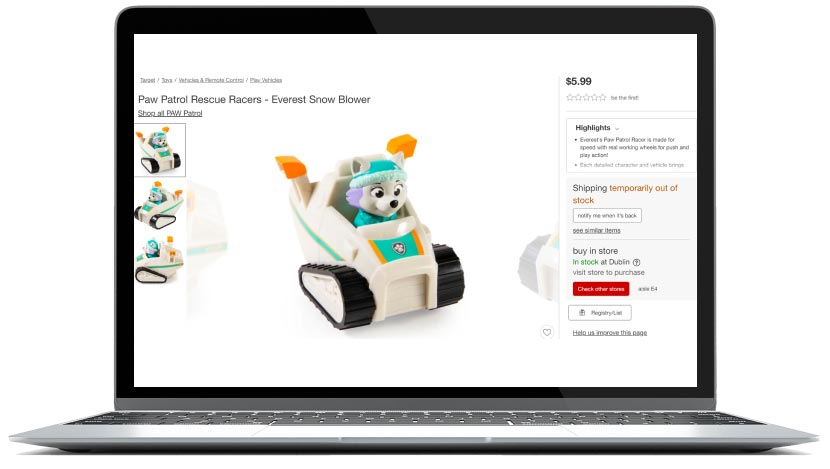 target customer experience = screenshot-of-a-toy-product-page