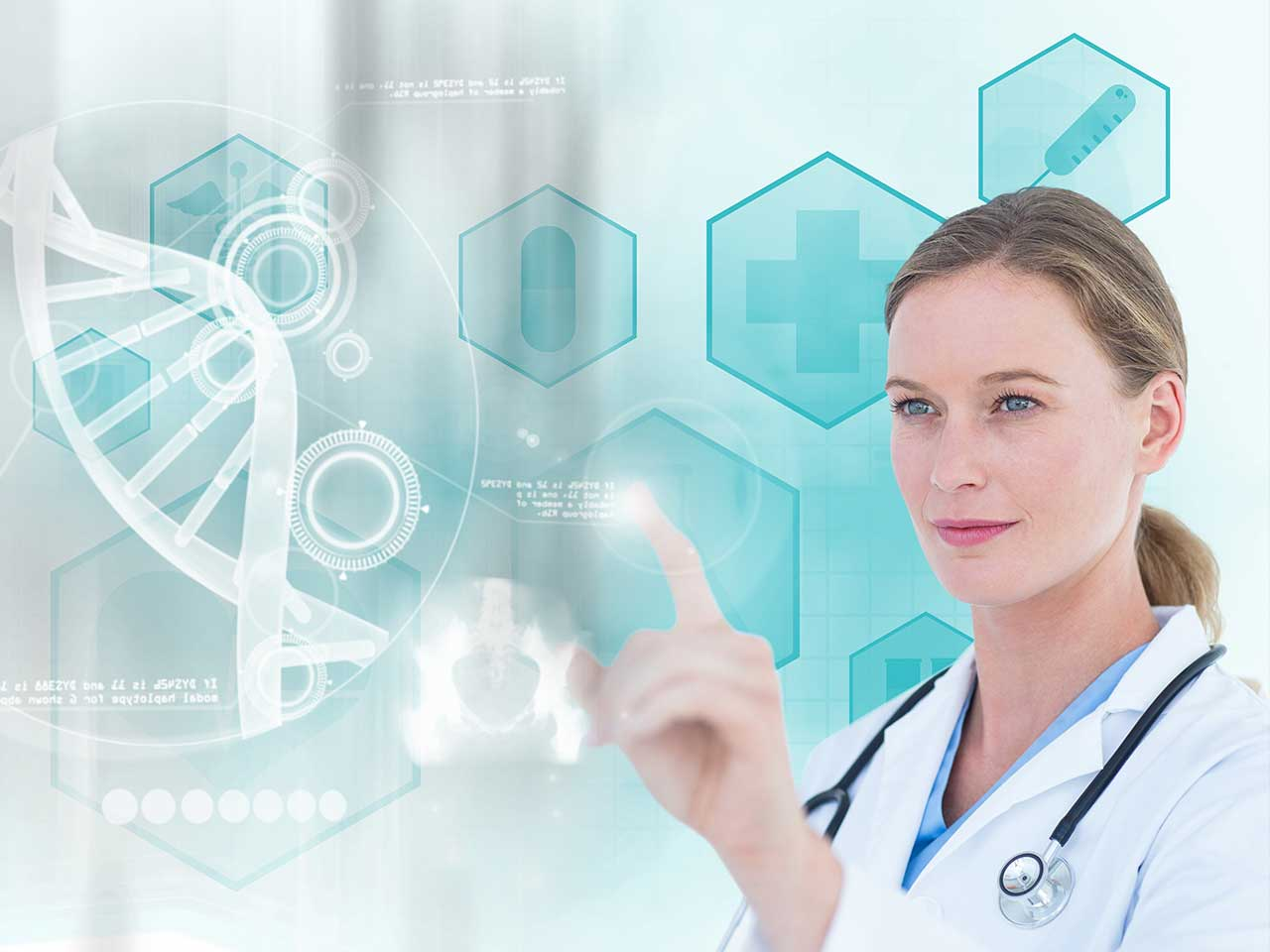 female doctor pointing her finger in a high-tech screen