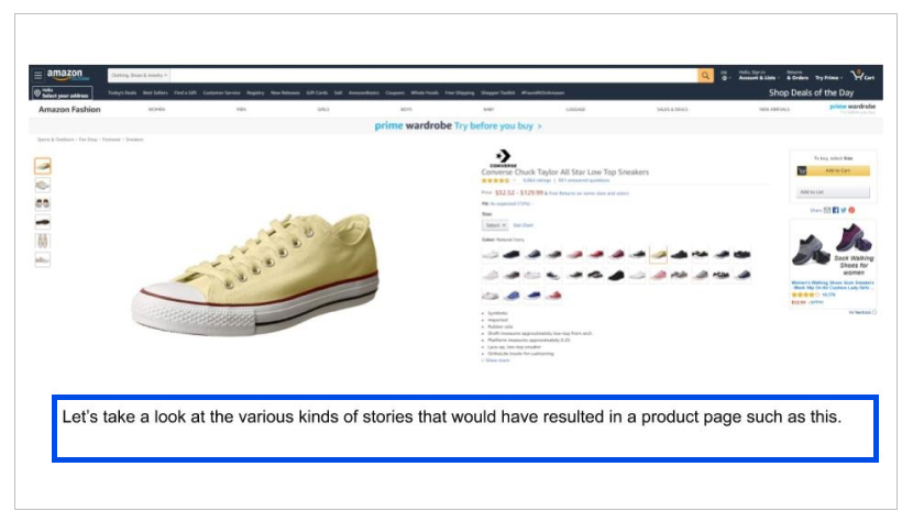 screenshot of shoes product page