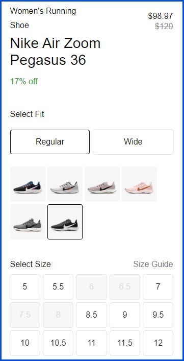 Nike air zoom shoes - product page