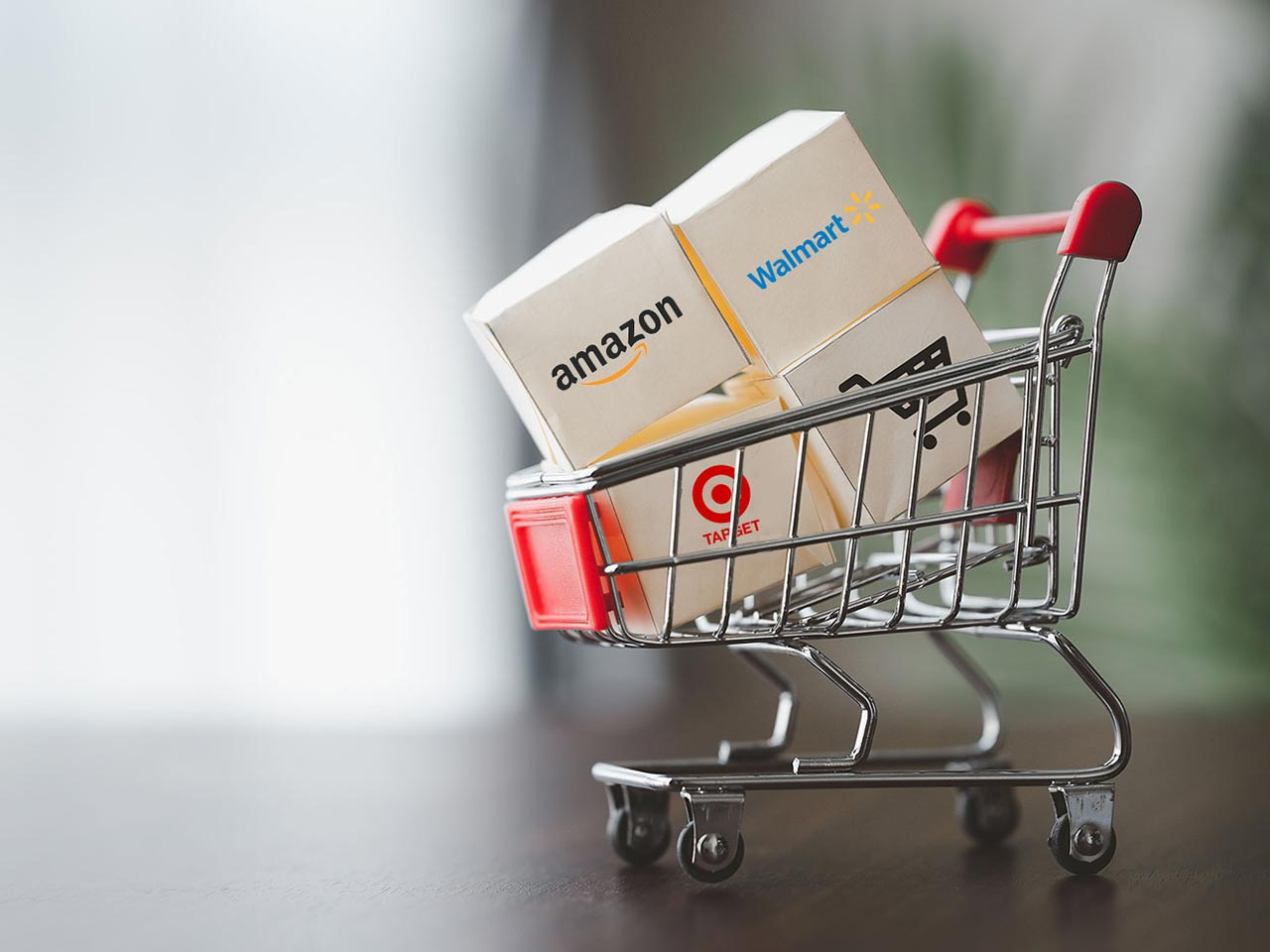 cart with Amazon Walmart Target and cart icon
