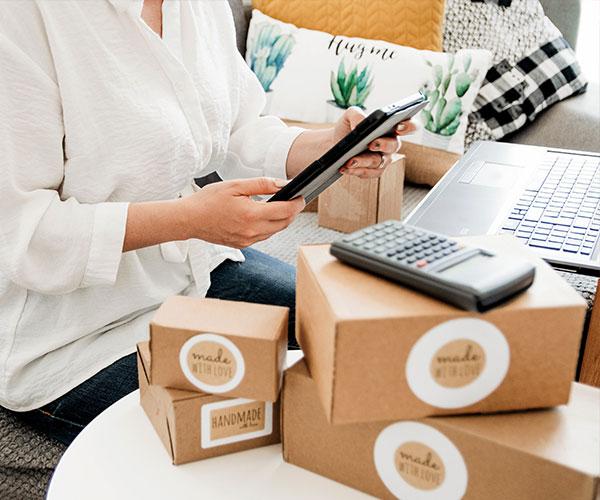 woman managing orders