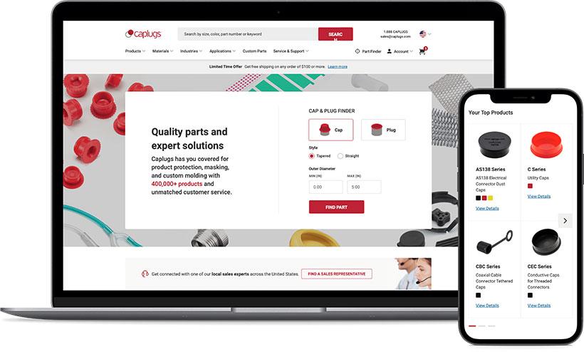 Caplugs Responsive Web Design mockup