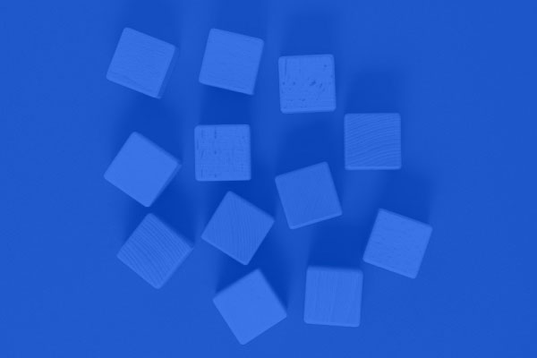aerial view of wooden blocks with blue overlay
