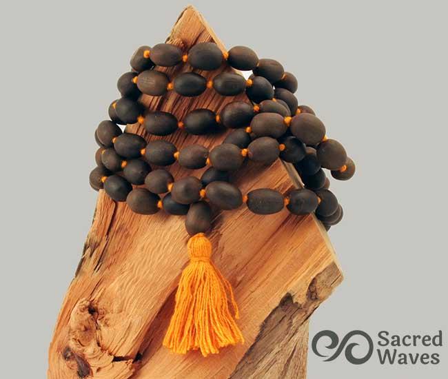 Lotus Seed Mala - Orange Tassel