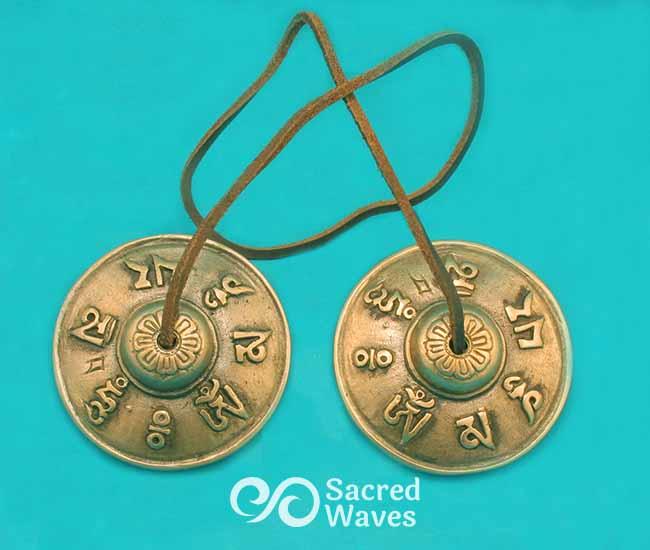 """2 3/4"""" Practitioner Tingsha - Om Mane Padme Hum"""
