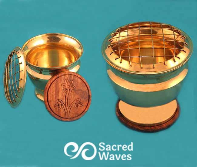Incense Pedestal Burning Bowl - Brass