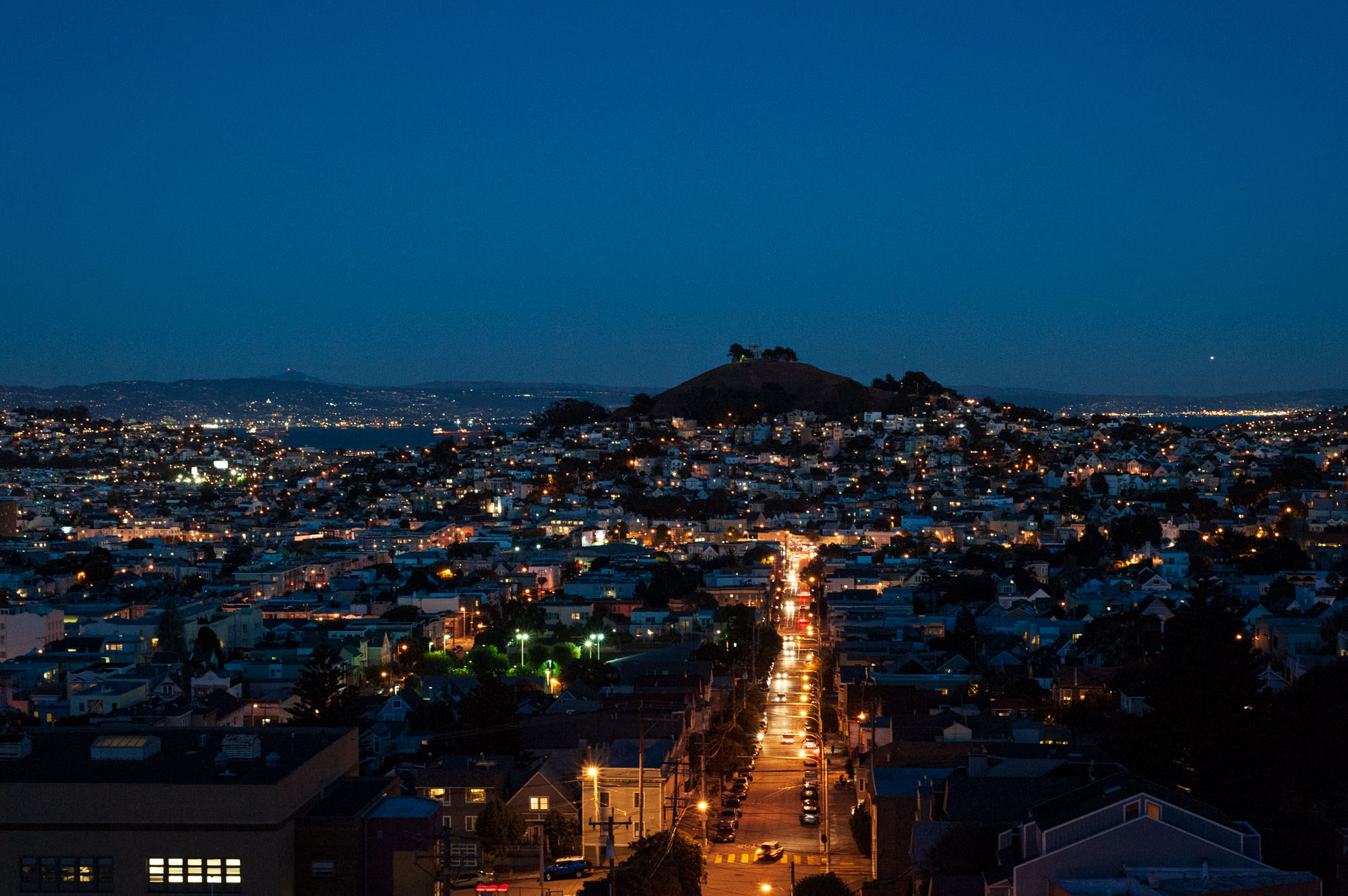 view from the top of a hill, overlooking Noe Valley in San Francisco